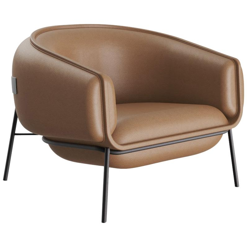 Scandinavian Modern Red Metal Base and Leather Round Shaped Blop Armchair