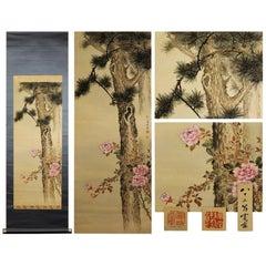 Blossom and Tree Scene Meiji Period Scroll Japan 19c Artist Araki Kanpo