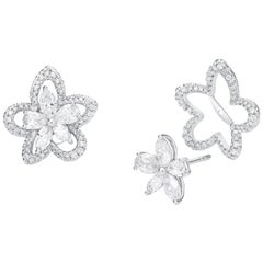 Blossom Flower 18k White Diamond Jacket Earring