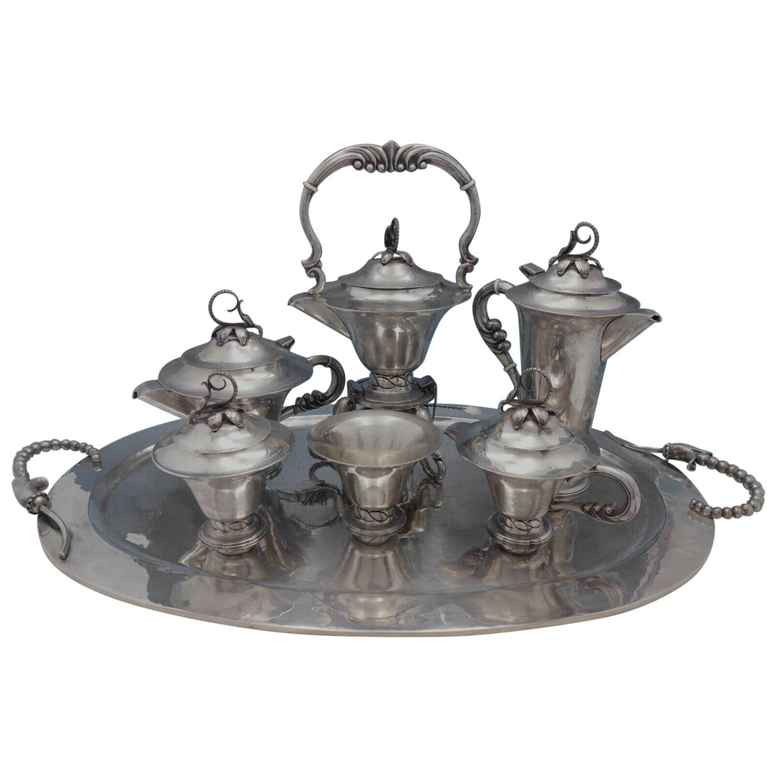 Blossom Mexican Mexico Sterling Silver Tea Set 7-Piece