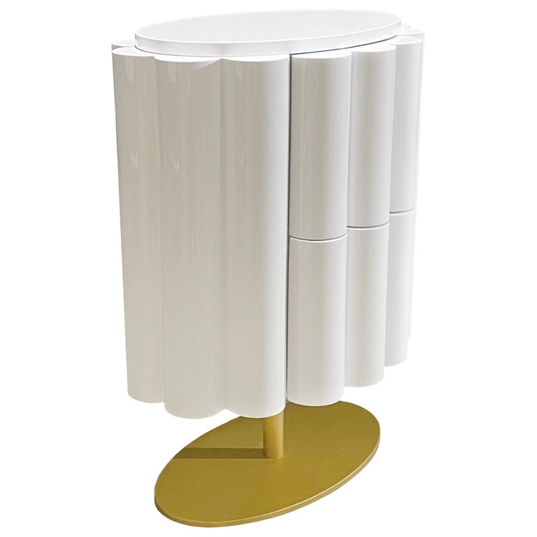 """""""Blossom"""" Modern Bedside Table in Glossy White from Egli Design For Sale"""