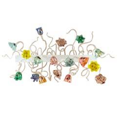 Blossom Wall 17 Lights with Murrina and Silver Leaf, White Fixture by Multiforme