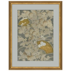 Blossoms Japanese Print in Gray and Blue by CuratedKravet