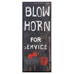 """Blow Horn For Service"" Framed Folk Art Sign"