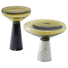 """Blow"" Side Table in 4 Blown Glass Colors & Polished Calacatta or Nero Marquina"