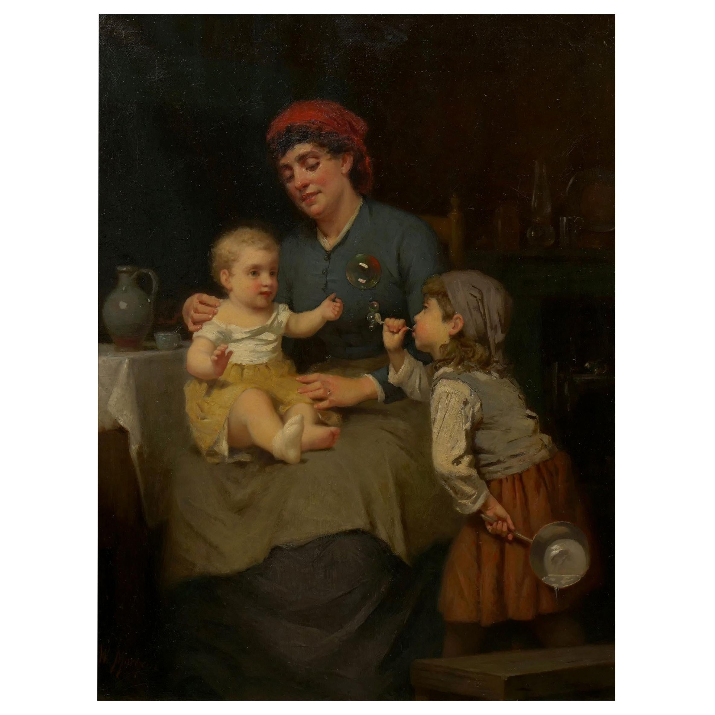 """""""Blowing Bubbles"""" Oil Painting by William Penn Morgan 'American, 1826-1900'"""