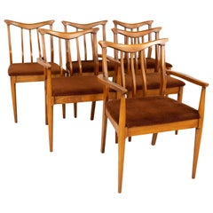 Blowing Rock Mid Century Walnut Dining Chairs, Set of 6