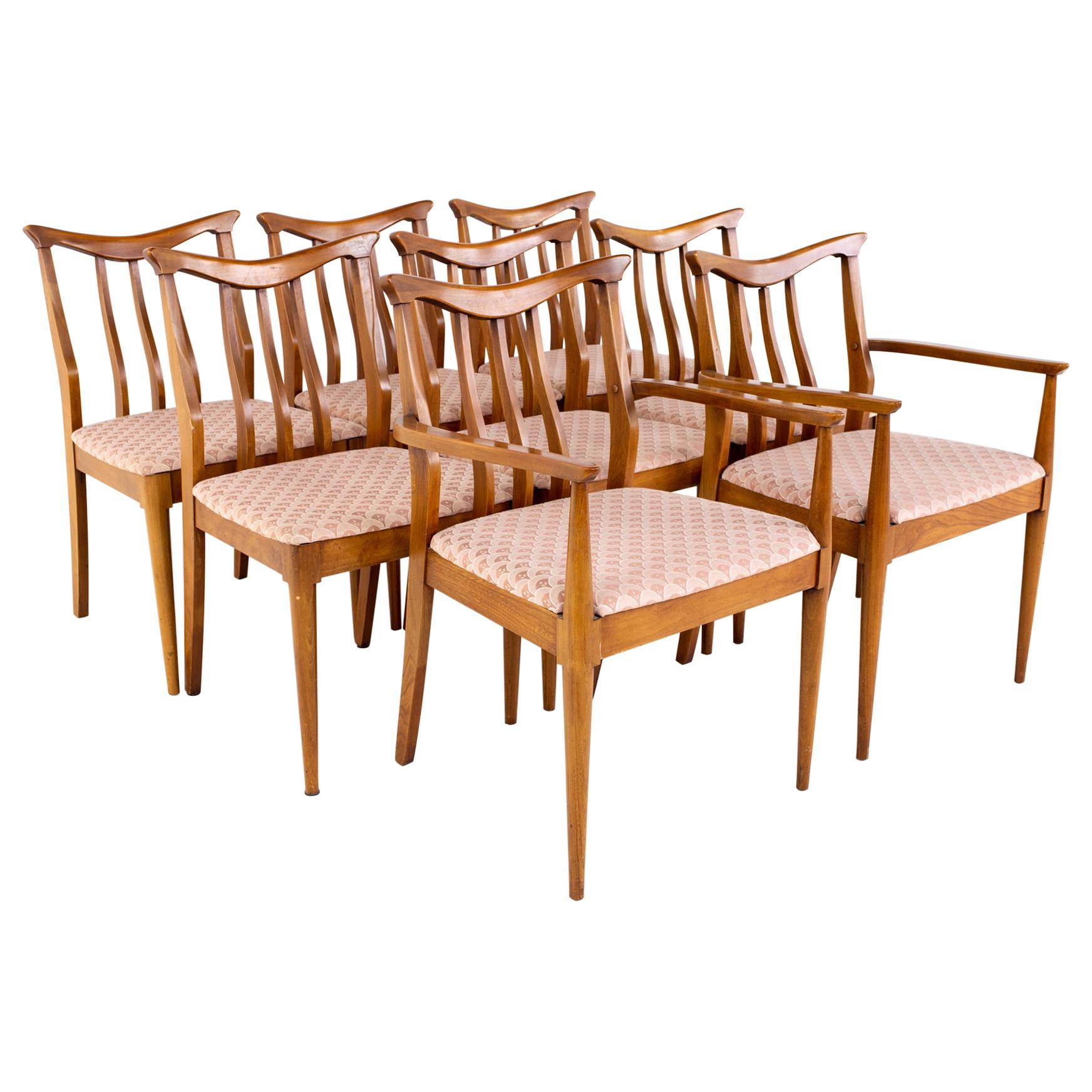 Blowing Rock Mid Century Walnut Dining Chairs, Set of 8
