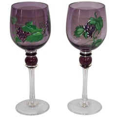 Blown and Hand Painted Wine Glasses