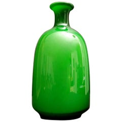 Murano Glass Italian Blown and Jacketed Vase, 1980s