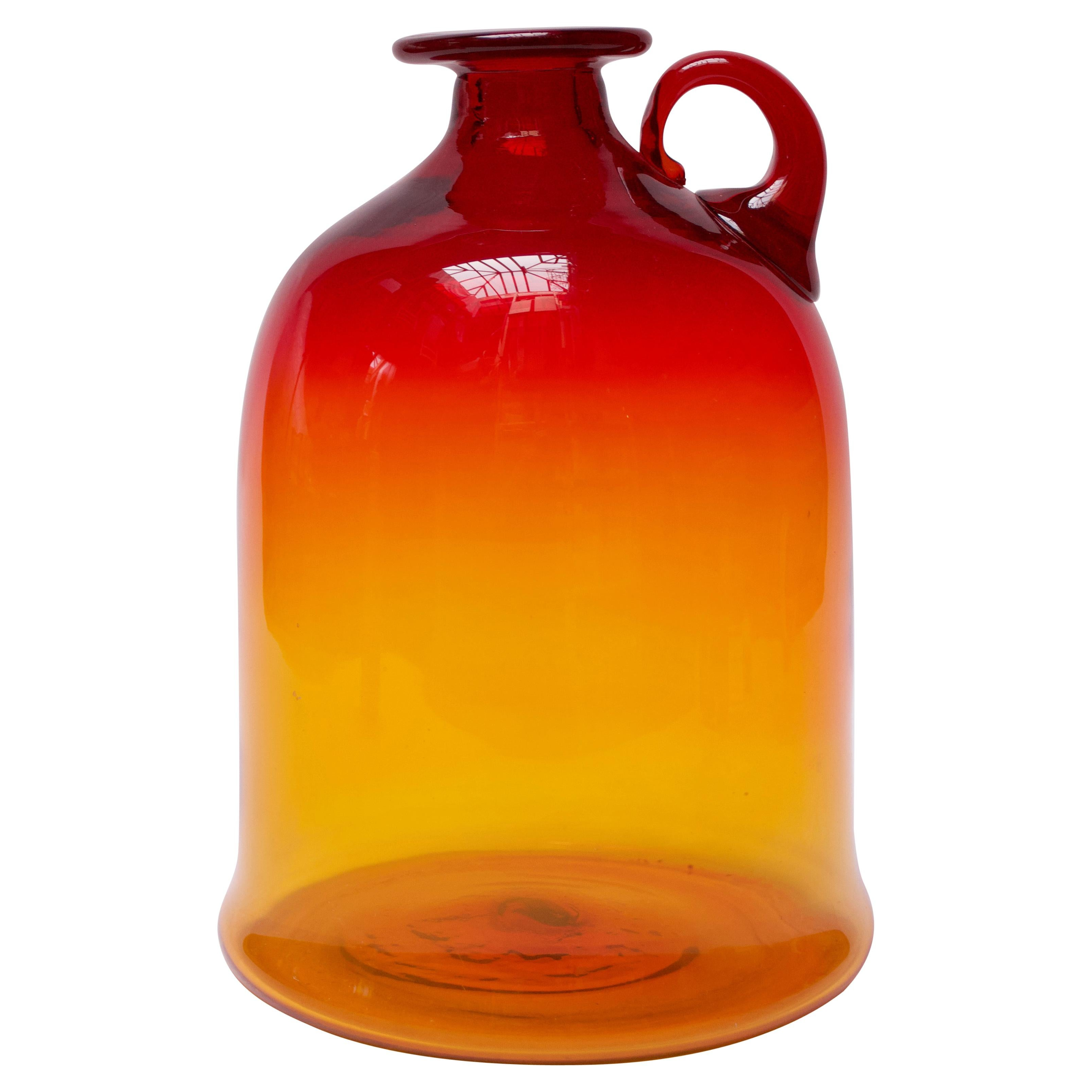 Blown Glass Amberina Tangerine Jug Designed by John Nickerson for Blenko