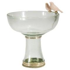 Blown Glass Bowl with Cerámic Birds and White Metal 'Alpaca'