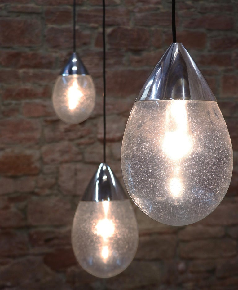 Mid-Century Modern Blown Glass Drop Light Pendant by Limburg, Germany, 1970s For Sale