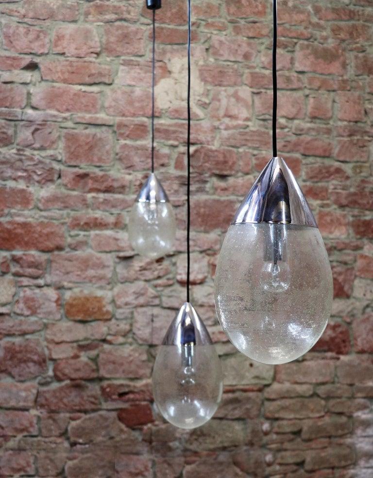 Blown Glass Drop Light Pendant by Limburg, Germany, 1970s In Good Condition For Sale In Niederdorfelden, Hessen