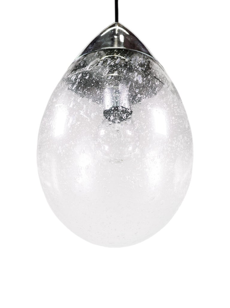 Late 20th Century Blown Glass Drop Light Pendant by Limburg, Germany, 1970s For Sale