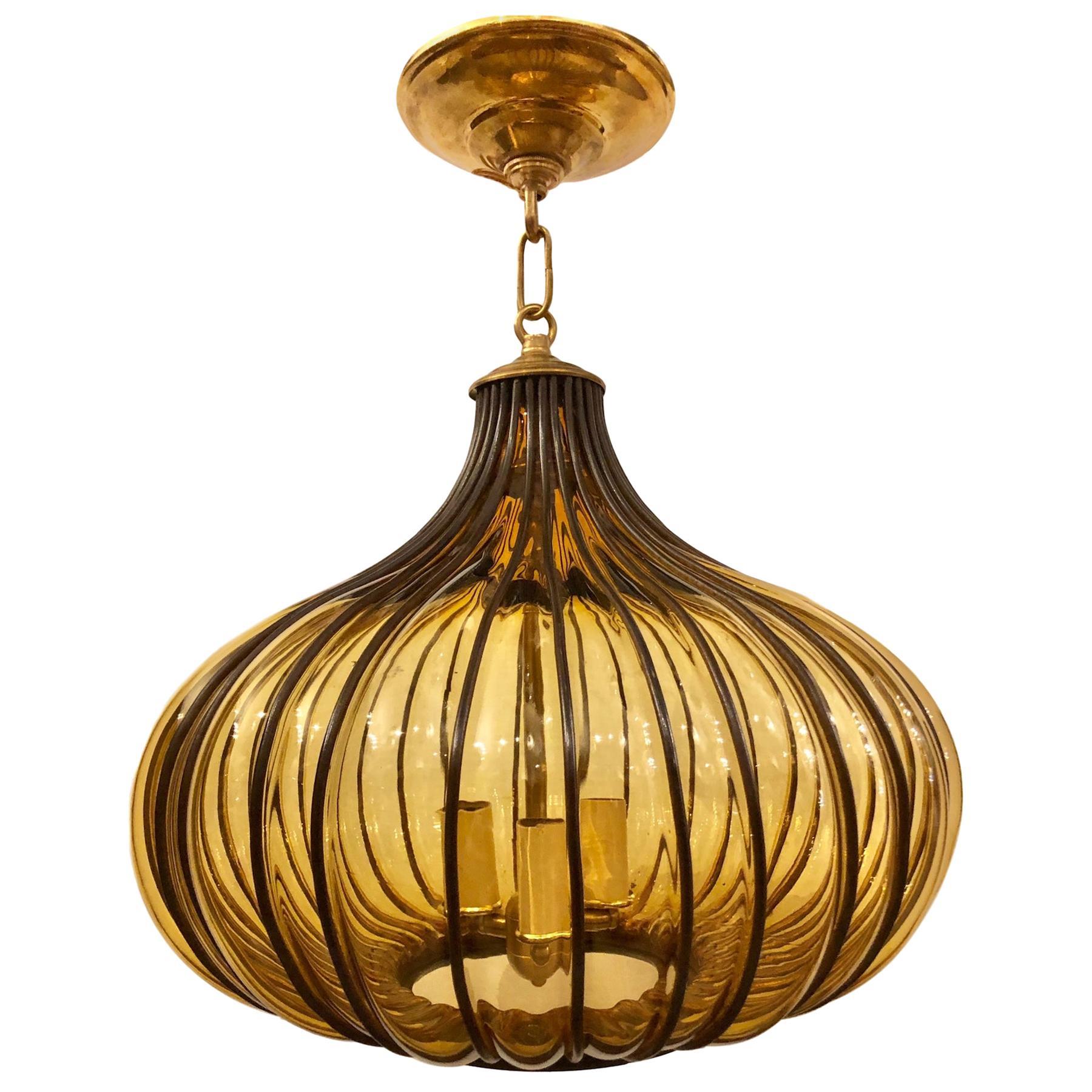 Blown Glass Midcentury Lantern