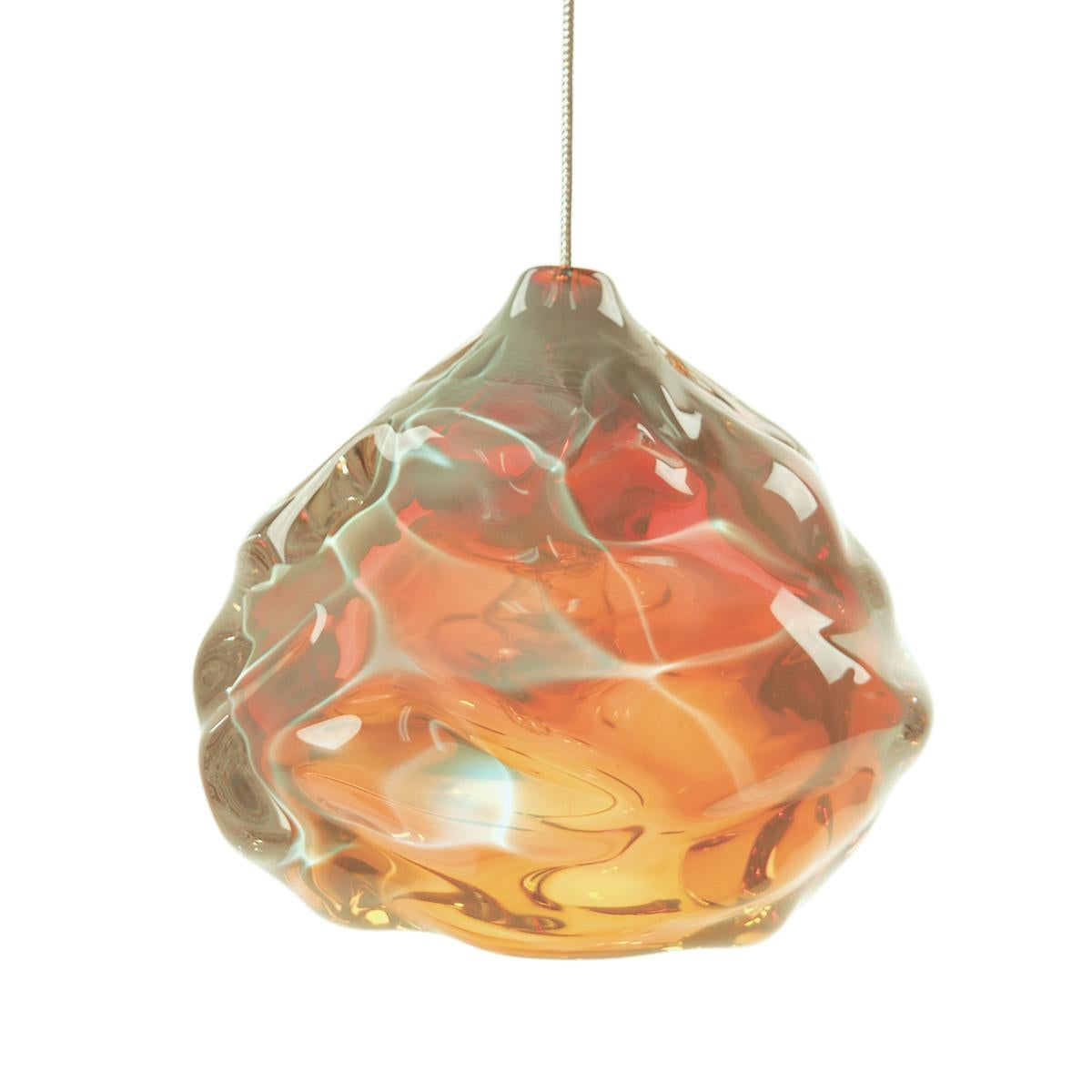 Small Gold Topaz Happy Pendant Light, Hand Blown Glass - Made to Order