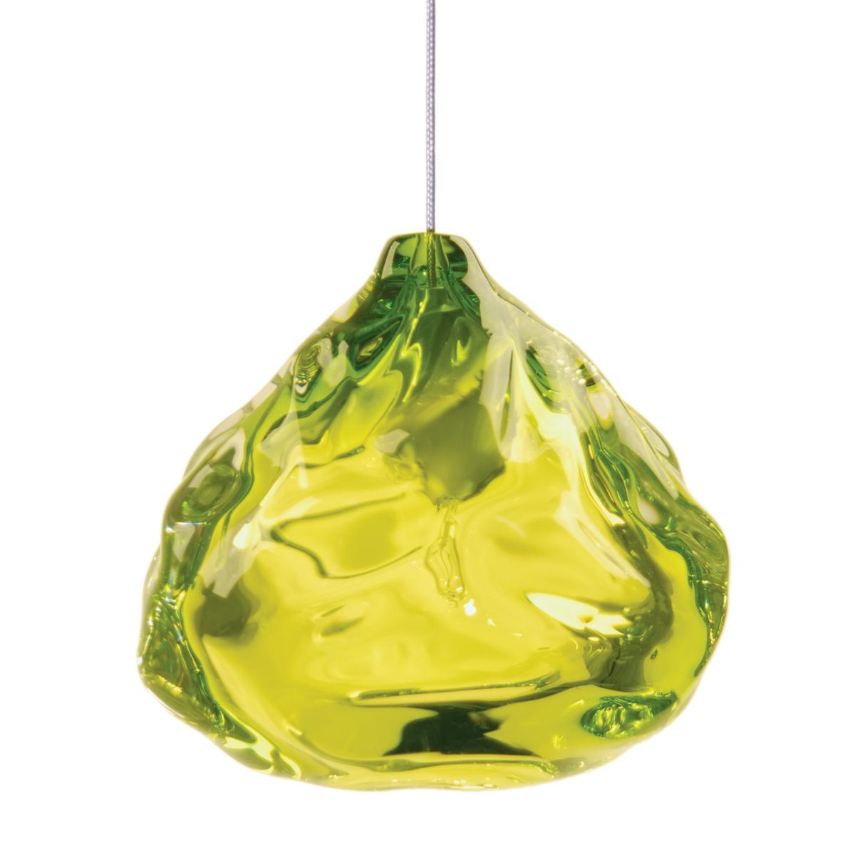 Small Lime Green Happy Pendant Light, Hand Blown Glass - Made to Order