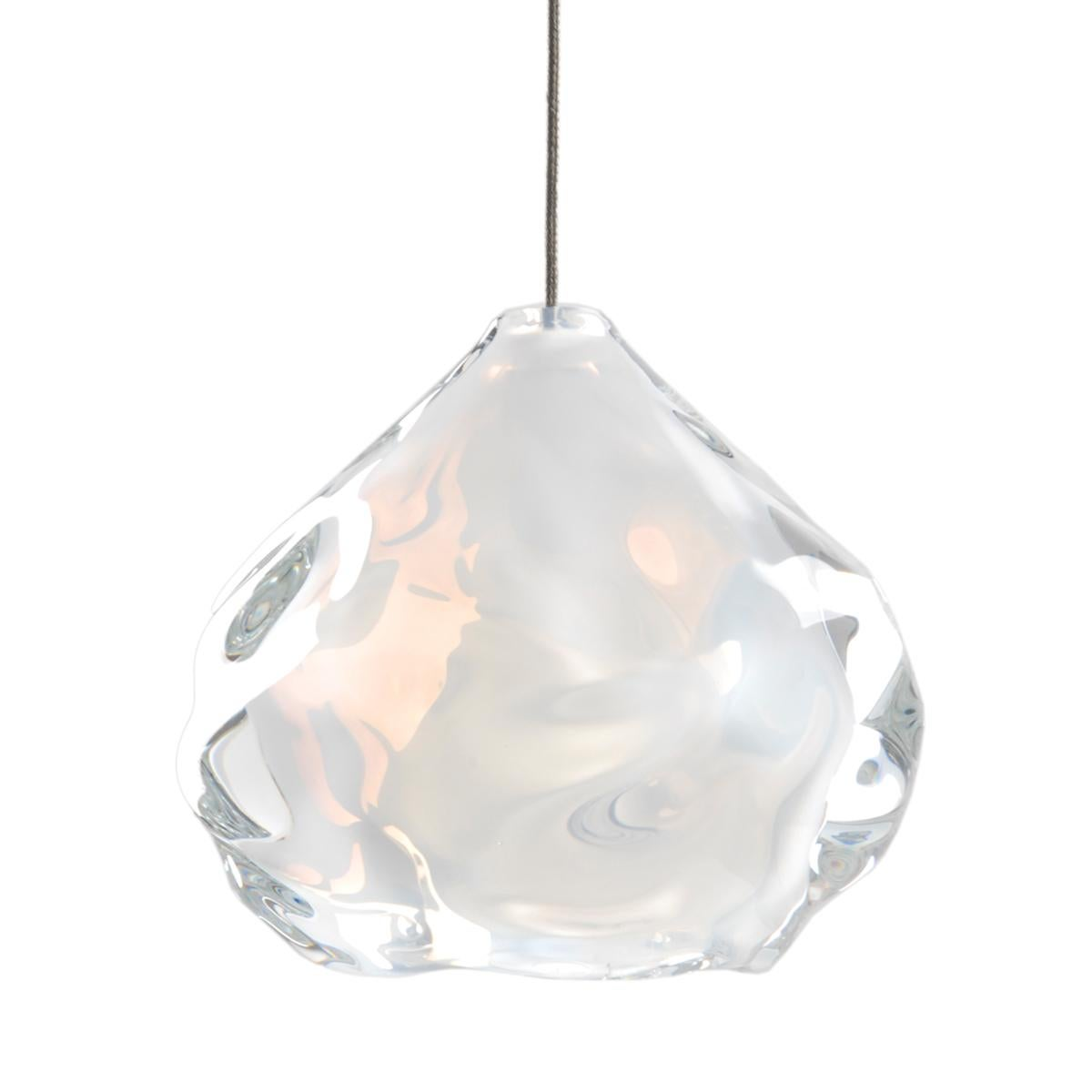 Small Opaline White Happy Pendant Light, Hand Blown Glass - Made to Order