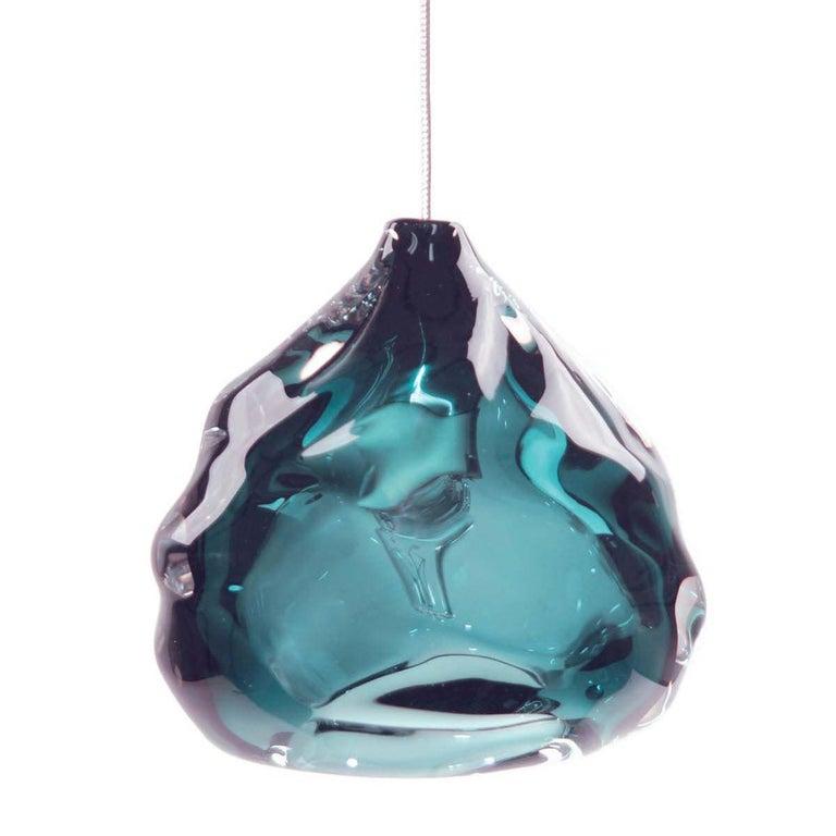 Blue Glass Pendant, Steel Blue Happy Pendant For Sale