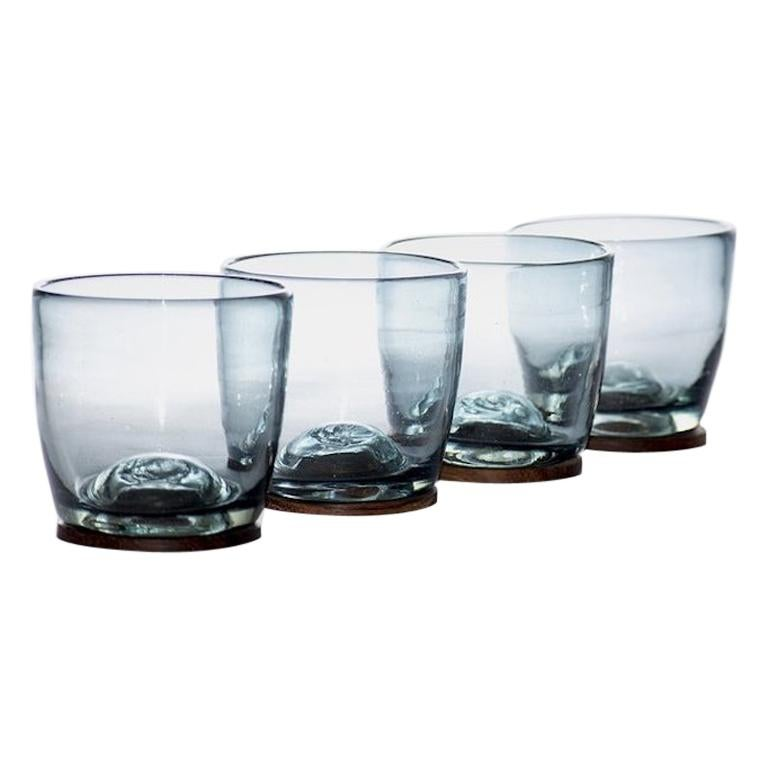 Blown Glass Tumblers in Grey with Wood Coaster, Set of 4, in Stock For Sale