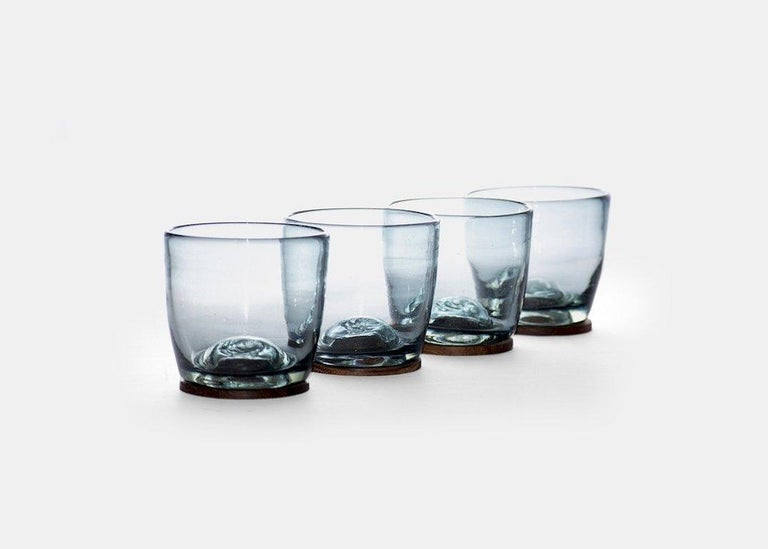 Mexican Blown Glass Tumblers Transparent with Wood Coaster, Set of 4, in Stock For Sale