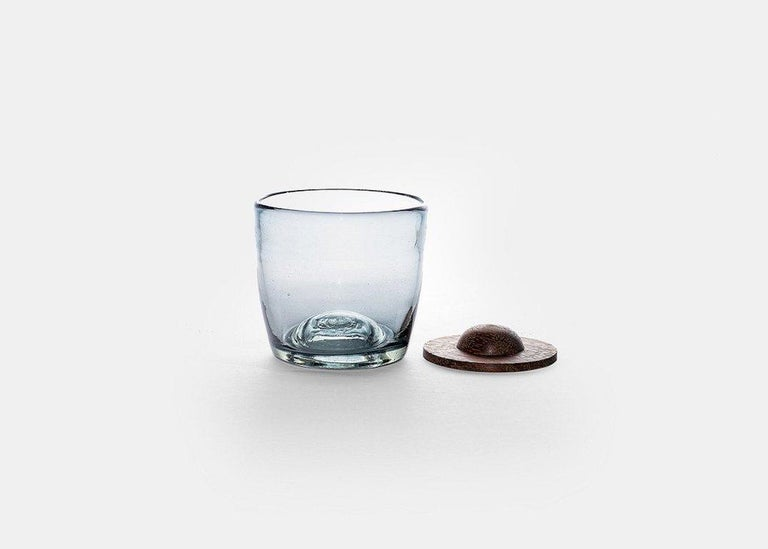 Hand-Crafted Blown Glass Tumblers Transparent with Wood Coaster, Set of 4, in Stock For Sale
