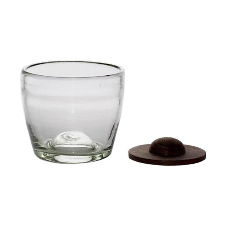 Blown Glass Tumblers Transparent with Wood Coaster, Set of 4, in Stock For Sale