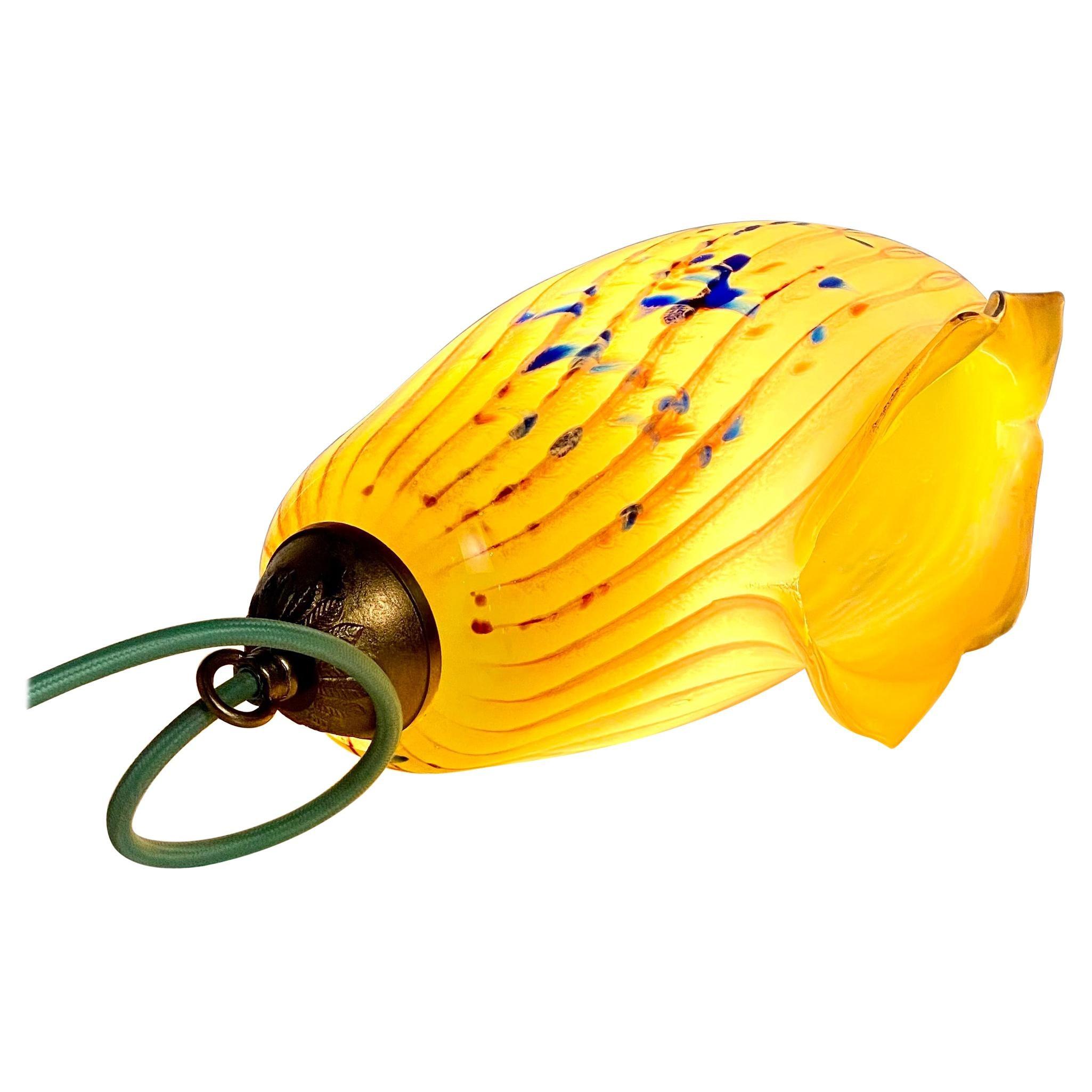 Blown Glass Yellow and Lamp Pendent Light, 21st Century by Mattia Biagi