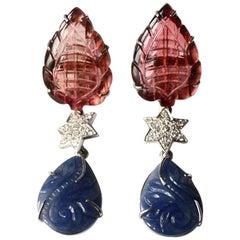 Blu Carved Sapphire Diamond Tourmaline 18 Karat White Gold Earrings
