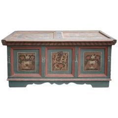 Blu Floral Painted Blanket Chest, Italy, 1812