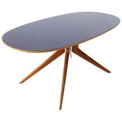 Blu Glass Oval Top Dining Table, 1950s