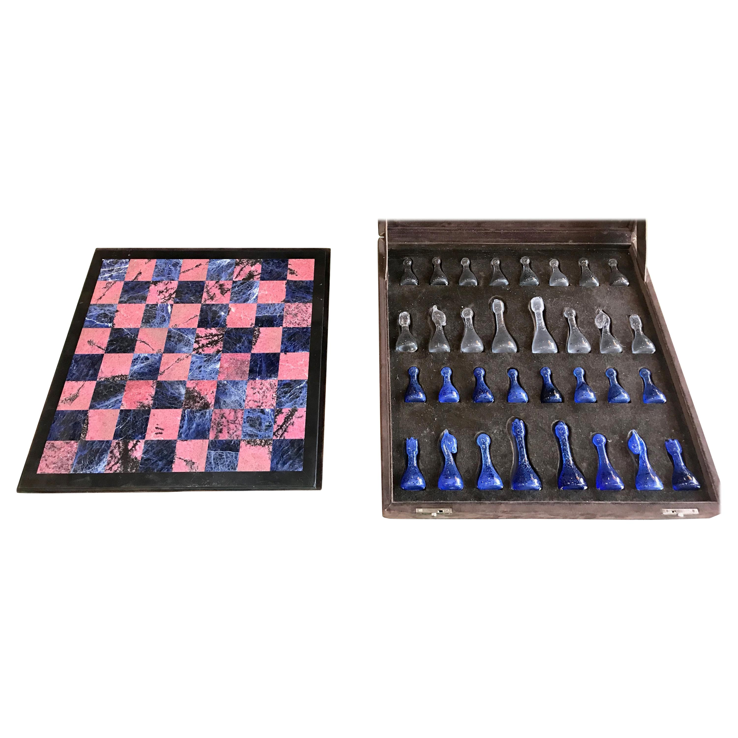 Blu Marble and Art Glass Chess Game Set, Italy, circa 1960s