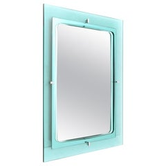 Blue Nile Glass Frame Rectangular Mirror, 1960s