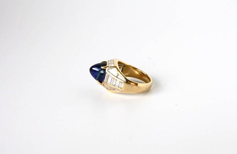Art Deco Blue Sapphire 18 Karat Gold Diamond Baguette Pinkie Ring For Sale