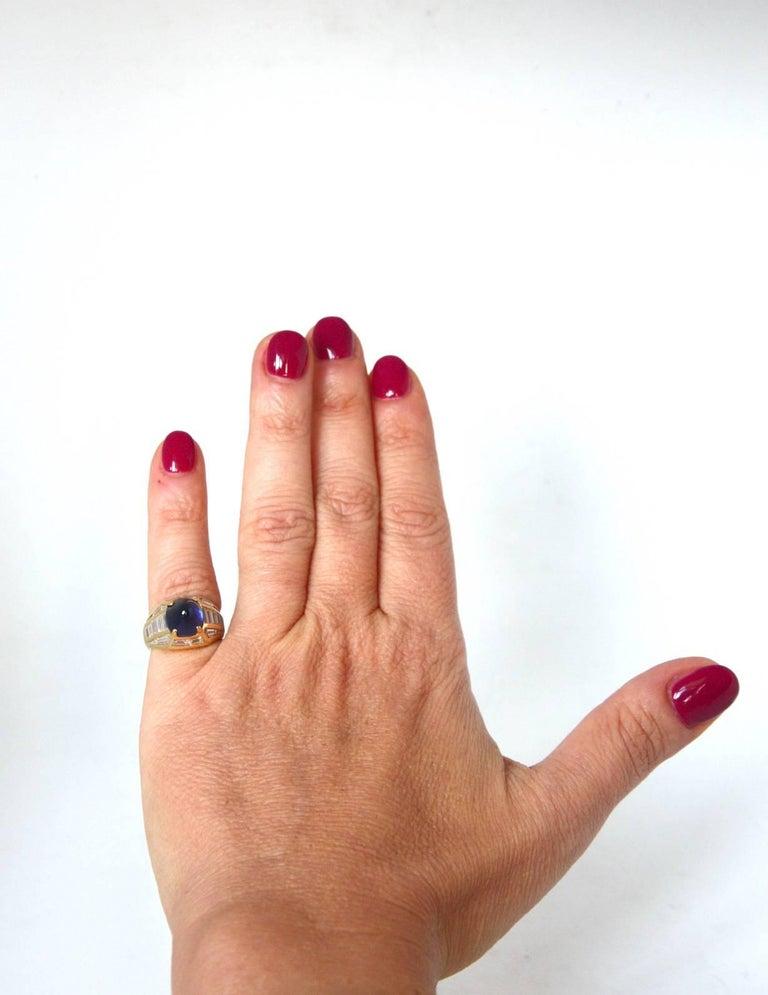 Baguette Cut Blue Sapphire 18 Karat Gold Diamond Baguette Pinkie Ring For Sale
