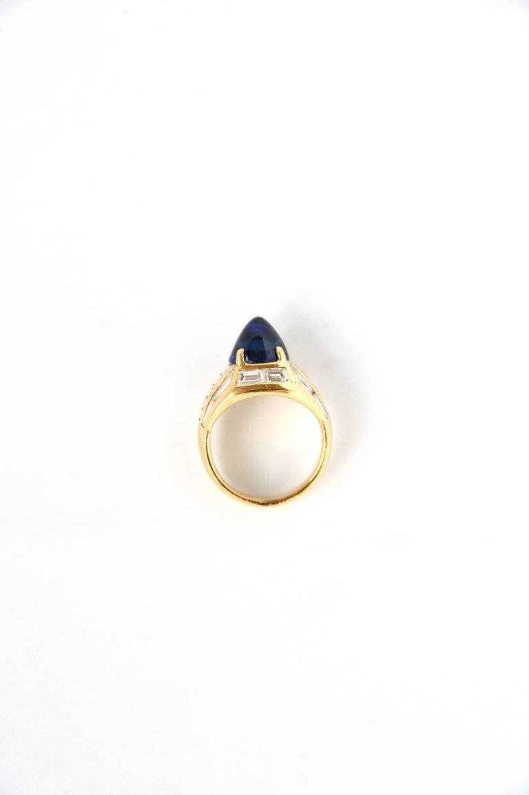 Blue Sapphire 18 Karat Gold Diamond Baguette Pinkie Ring For Sale 3