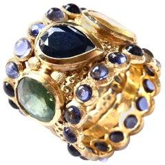 Blu Yellow and Green Sapphire Band Ring Cabochon Tanzanite 18 Gold