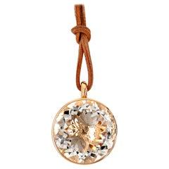 Georg Spreng - Blub Pendant 38 mm 18K Rosé Gold, Round Natural Rock Crystal