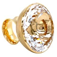 Georg Spreng - Blub Ring 18 Karat Yellow Gold, Round Natural Rock Crystal 38 mm