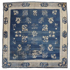 Blue Early 20th Century Large Chinese Square Rug