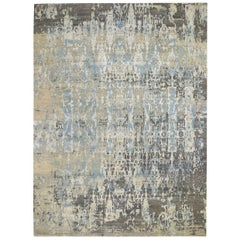 Blue Abstract Design Wool and Pure Silk Denser Weave Hand Knotted Modern Rug