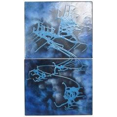 BLUE Abstract Enamel Art  by John Puskas  2 Panel Mid-Century Modern 1956