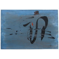 Blue Abstract Gouache on Board, Signed and Dated 1955