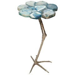 Blue Agate Drink Table with Chrome Ostrich Leg