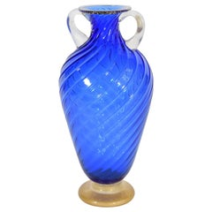 Blue Amphora Vase by Cenedese for Seguso Vetri d`Arte, Murano, Italy, 1990s