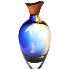 Blue and Amber Sculpted Blown Glass, Pia Wüstenberg