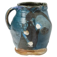 Blue and Black Abstract Ceramic Pitcher by Michel Lanos circa 1975 Pottery