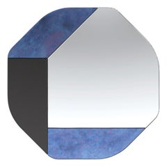 Blue and Black WG.C1.B Hand-Crafted Wall Mirror