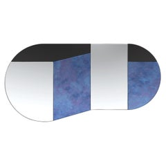 Blue and Black WG.C1.C Hand-Crafted Wall Mirror